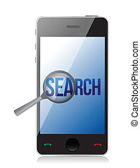 magnifier and search on a phone screen. Illustration design