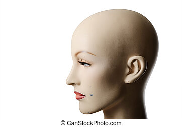 headshot of a female manneqin, profile - headshot of a...