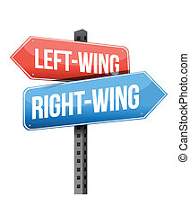Left-wing and right-wing road sign illustration design over...
