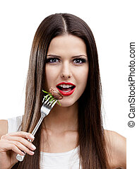 Woman eating greasy food - Pretty woman with red lipstick...