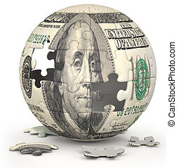 Dollar Globe - Photo of a jigsaw sphere image mapped with a...
