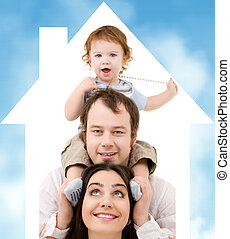happy family - bright picture of happy family over house...