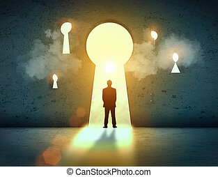 Silhouette of businessman in keyhole - Silhouette of...