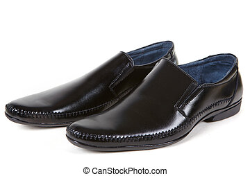 Patent-leather shoes - Black man shoes on a white background