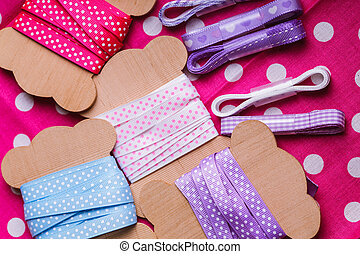 Ribbon bobbins - Polka dot ribbon on wooden vintage bobbins...