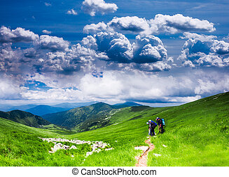 Carpathian landscape - Panoramic view of Carpathians -...
