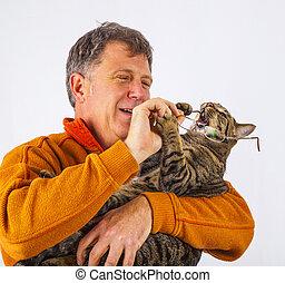 coger, Tratar, hombre, anteojos, gato