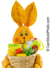 Easter Bunny basket with sweets and Easter Egg, on White...