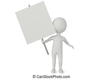 3d humanoid character hold a blank board on white