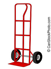 red handtruck -  A Isolated red handtruck illustration
