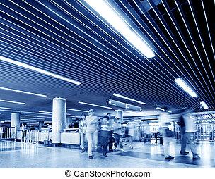 Passengers in Shanghai Metro station - passenger in the...