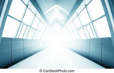 Modern corridor - A long corridor, modern building interiors
