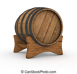 wooden barrel - one wooden barrel on white background 3d...