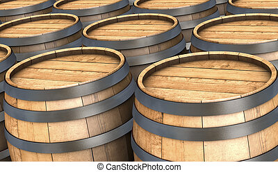 wooden barrels - closeup of many wooden barrels (3d render)