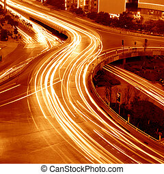 Overpass of the light trails, beautiful curves