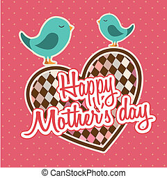 happy mothers day card with birds. vector illustration