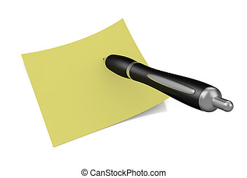 take notes - one black pen with a yellow sticky note 3d...