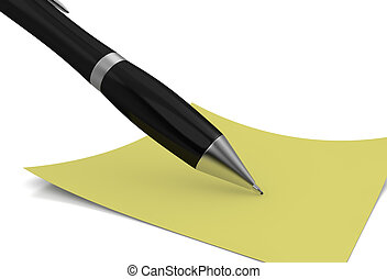 take notes - one black pen with a yellow sticky note (3d...