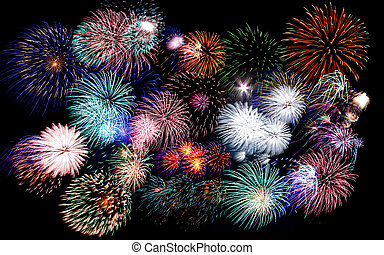 Colorful fireworks of various colors in night sky - Colorful...