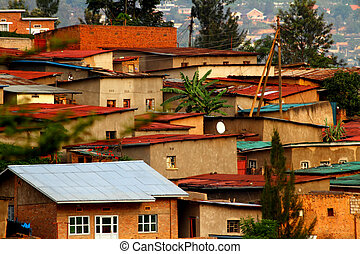 Colorful Hillside Homes - Colorful hillside homes in Kigali,...