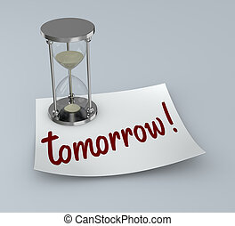 reminder - one post-it with an hourglass and text: tomorrow...