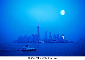 Shanghai Night - Beautiful Shanghai Pudong skyline at dusk