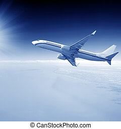 Airplane on blue sky - High-altitude aircraft flying above...