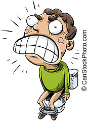 Constipation - A cartoon man suffers from extreme...