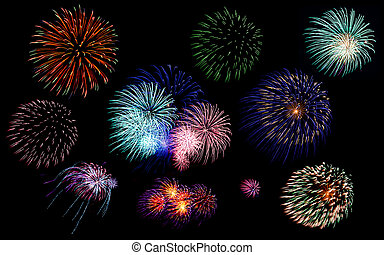 Colorful fireworks of various colors in night sky -...