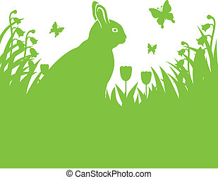 Spring background with Easter bunny - Silhouette image of...