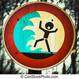 Screaming person flashflood tsunami warning sign - Grungy...