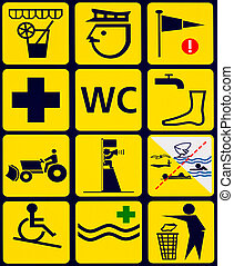 Sign with 12 instuctional icons for public beach - Sign with...