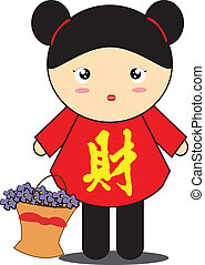 Chinese girl cartoon - Chinese girl wearing Chinese...