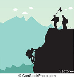 black silhouette of a rock climber - Vector black silhouette...