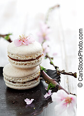 French macaroons decorated with pink cherry flowers