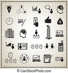 Business icon set : Human resources and management, Vector...