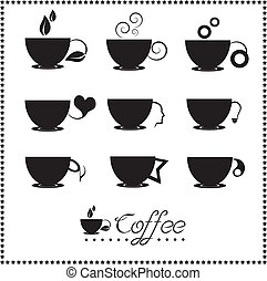 Coffee cup icon set, Tea cup, Vector illustration