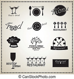 Food and Drink Restaurant icons set. Vector illustration