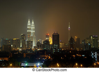 Kuala Lumpur At Night - The Petronas Towers, also known as...