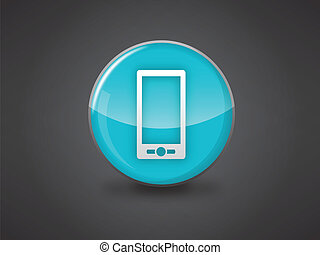 mobile phone icon blue glossy - mobile phone icon on blue...