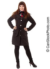 young woman in topcoat