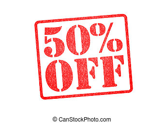 50 OFF Rubber Stamp over a white background