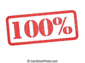100% Rubber Stamp - 100% red rubber stamp over a white...