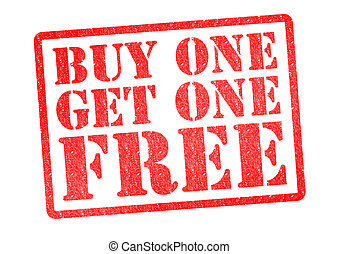 BUY ONE GET ONE FREE Rubber Stamp over a white background
