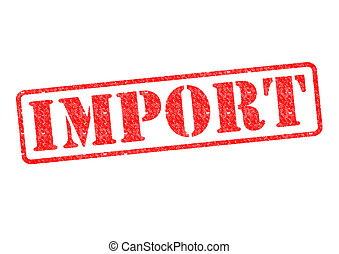 IMPORT Rubber Stamp over a white background.