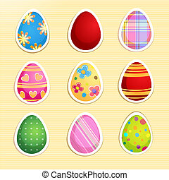 Set of colorful paper Easter eggs