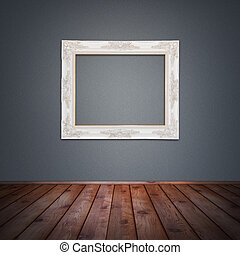 Photo frame in vintage room - Photo frame on the wall in...