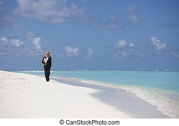 happy business woman on the beach - happy business woman on...