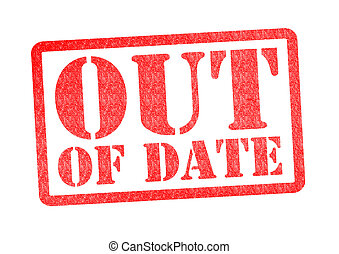 OUT OF DATE Rubber Stamp over a white background