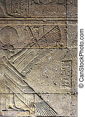 Winged Female Relief Dendera Temple - winged femal relief...